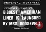 Image of SS America launched Newport News Virginia USA, 1939, second 4 stock footage video 65675046130