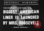 Image of SS America launched Newport News Virginia USA, 1939, second 5 stock footage video 65675046130