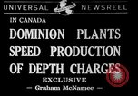 Image of depth charges Canada, 1941, second 1 stock footage video 65675046193