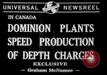 Image of depth charges Canada, 1941, second 2 stock footage video 65675046193