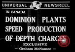 Image of depth charges Canada, 1941, second 5 stock footage video 65675046193