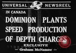 Image of depth charges Canada, 1941, second 7 stock footage video 65675046193