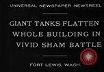 Image of tank damages old building Fort Lewis Washington USA, 1930, second 2 stock footage video 65675046578