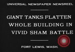 Image of tank damages old building Fort Lewis Washington USA, 1930, second 4 stock footage video 65675046578