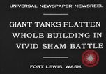 Image of tank damages old building Fort Lewis Washington USA, 1930, second 5 stock footage video 65675046578