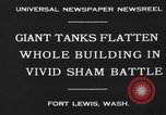 Image of tank damages old building Fort Lewis Washington USA, 1930, second 6 stock footage video 65675046578