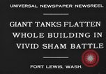 Image of tank damages old building Fort Lewis Washington USA, 1930, second 7 stock footage video 65675046578