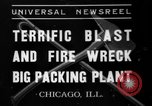 Image of fire at meat plant Chicago Illinois USA, 1937, second 1 stock footage video 65675046691