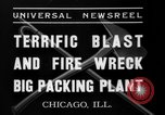 Image of fire at meat plant Chicago Illinois USA, 1937, second 3 stock footage video 65675046691