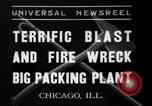 Image of fire at meat plant Chicago Illinois USA, 1937, second 5 stock footage video 65675046691
