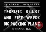 Image of fire at meat plant Chicago Illinois USA, 1937, second 7 stock footage video 65675046691