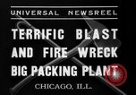 Image of fire at meat plant Chicago Illinois USA, 1937, second 9 stock footage video 65675046691