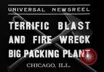 Image of fire at meat plant Chicago Illinois USA, 1937, second 10 stock footage video 65675046691