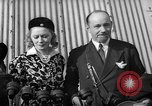 Image of Sir Hubert and Lady Wilkins speaking on arrival aboard the Hindenburg Lakehurst New Jersey USA, 1936, second 1 stock footage video 65675047077