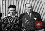 Image of Sir Hubert and Lady Wilkins speaking on arrival aboard the Hindenburg Lakehurst New Jersey USA, 1936, second 3 stock footage video 65675047077