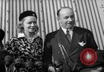 Image of Sir Hubert and Lady Wilkins speaking on arrival aboard the Hindenburg Lakehurst New Jersey USA, 1936, second 4 stock footage video 65675047077