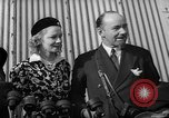 Image of Sir Hubert and Lady Wilkins speaking on arrival aboard the Hindenburg Lakehurst New Jersey USA, 1936, second 5 stock footage video 65675047077
