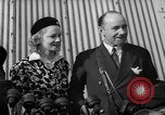 Image of Sir Hubert and Lady Wilkins speaking on arrival aboard the Hindenburg Lakehurst New Jersey USA, 1936, second 6 stock footage video 65675047077
