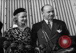 Image of Sir Hubert and Lady Wilkins speaking on arrival aboard the Hindenburg Lakehurst New Jersey USA, 1936, second 7 stock footage video 65675047077