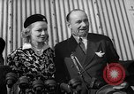 Image of Sir Hubert and Lady Wilkins speaking on arrival aboard the Hindenburg Lakehurst New Jersey USA, 1936, second 8 stock footage video 65675047077
