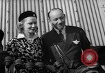 Image of Sir Hubert and Lady Wilkins speaking on arrival aboard the Hindenburg Lakehurst New Jersey USA, 1936, second 9 stock footage video 65675047077