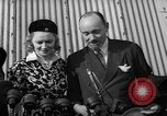 Image of Sir Hubert and Lady Wilkins speaking on arrival aboard the Hindenburg Lakehurst New Jersey USA, 1936, second 11 stock footage video 65675047077