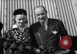 Image of Sir Hubert and Lady Wilkins speaking on arrival aboard the Hindenburg Lakehurst New Jersey USA, 1936, second 12 stock footage video 65675047077