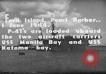 Image of P-47 Thunderbolts loaded on aircraft carriers Ford Island Pearl Harbor Hawaii USA, 1944, second 8 stock footage video 65675047534