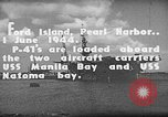 Image of P-47 Thunderbolts loaded on aircraft carriers Ford Island Pearl Harbor Hawaii USA, 1944, second 9 stock footage video 65675047534