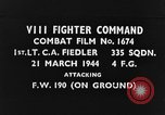 Image of attack on Focke-Wulf Fw-190 plane European Theater, 1944, second 1 stock footage video 65675047672