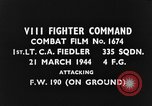 Image of attack on Focke-Wulf Fw-190 plane European Theater, 1944, second 2 stock footage video 65675047672