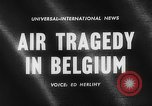 Image of wreckage of crashed plane Brussels Belgium, 1961, second 5 stock footage video 65675047740