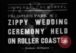 Image of Wedding ceremony on roller coaster Palisades Park New Jersey USA, 1938, second 1 stock footage video 65675047769