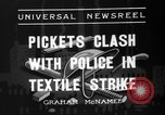 Image of picketing during a textile strike United States USA, 1936, second 8 stock footage video 65675047807