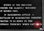 Image of wounded British soldiers treated at dressing station Minden France, 1916, second 1 stock footage video 65675048388
