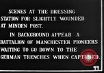 Image of wounded British soldiers treated at dressing station Minden France, 1916, second 3 stock footage video 65675048388
