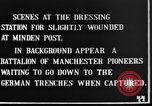Image of wounded British soldiers treated at dressing station Minden France, 1916, second 4 stock footage video 65675048388