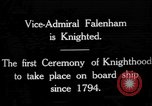 Image of Vice Admiral William Pakenham knighted by King George V Orkney Islands Scotland, 1917, second 1 stock footage video 65675049924