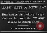 Image of Babe Ruth playing golf Saint Petersburg Florida USA, 1930, second 2 stock footage video 65675050771