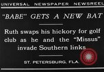 Image of Babe Ruth playing golf Saint Petersburg Florida USA, 1930, second 7 stock footage video 65675050771