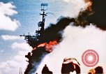 Image of burning warship Pacific Ocean, 1945, second 9 stock footage video 65675050821