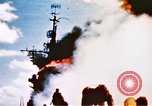 Image of burning warship Pacific Ocean, 1945, second 10 stock footage video 65675050821