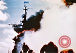 Image of burning warship Pacific Ocean, 1945, second 11 stock footage video 65675050821