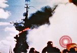 Image of burning warship Pacific Ocean, 1945, second 12 stock footage video 65675050821