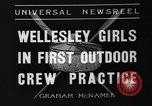 Image of shell boat crew Wellesley Massachusetts USA, 1936, second 5 stock footage video 65675051380