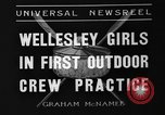 Image of shell boat crew Wellesley Massachusetts USA, 1936, second 6 stock footage video 65675051380
