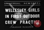 Image of shell boat crew Wellesley Massachusetts USA, 1936, second 7 stock footage video 65675051380