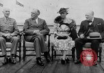 Image of President Roosevelt and Winston Churchill outside at Quebec Conference Quebec Canada, 1943, second 5 stock footage video 65675051786
