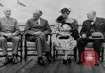 Image of President Roosevelt and Winston Churchill outside at Quebec Conference Quebec Canada, 1943, second 6 stock footage video 65675051786