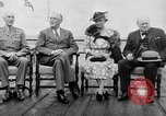 Image of President Roosevelt and Winston Churchill outside at Quebec Conference Quebec Canada, 1943, second 9 stock footage video 65675051786